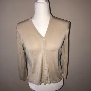 Brooks Brothers 100% silk cardigan sweater